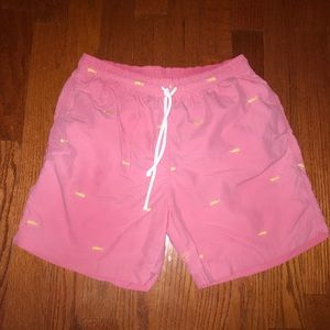 J. McLaughlin pink yellow swim trunks medium
